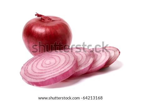 sliced onion isolated on white - stock photo