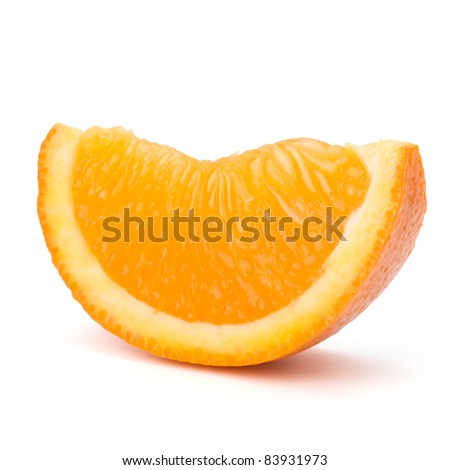 Sliced orange fruit segment  isolated on white background - stock photo