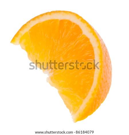 Sliced orange fruit segment  isolated on white background - stock photo