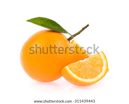 Sliced orange fruit with leaves isolated on white background - stock photo