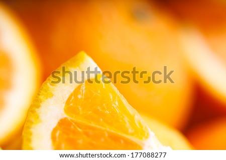 Sliced orange. Soft focus - stock photo