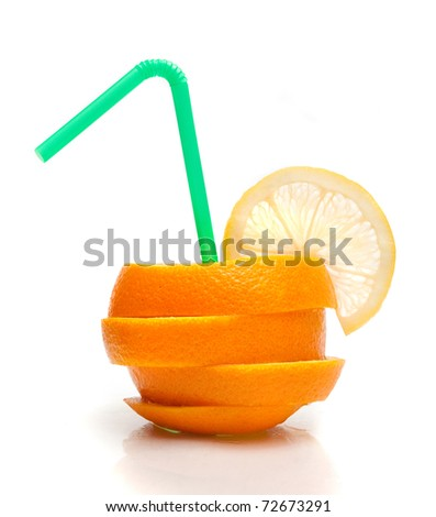 sliced orange with a straw - stock photo