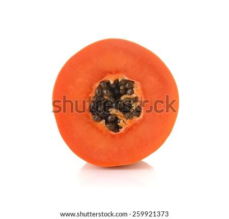 sliced papaya on a white background - stock photo