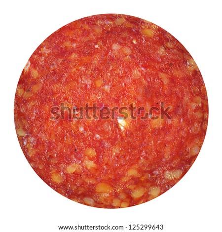 sliced paprika salami isolated on white background - stock photo