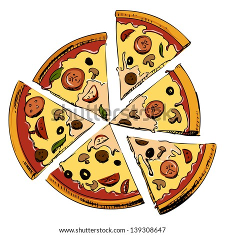 Sliced pizza isolated on white background. Hand drawing sketch illustration - stock photo