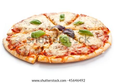 Sliced pizza margarita - stock photo
