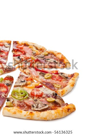 sliced pizza on a white background - stock photo