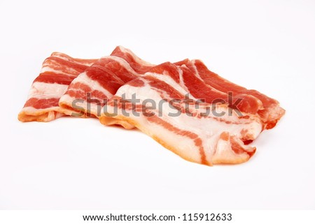 sliced pork bacon isolated on white background - stock photo
