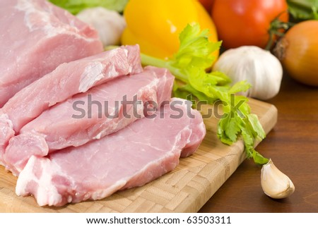Sliced pork tenderloin prepared for cooking - stock photo