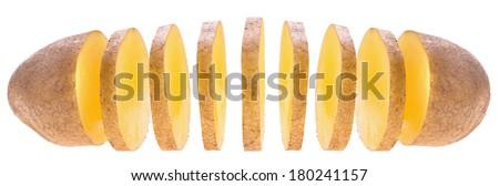 sliced potato isolated on white background - stock photo