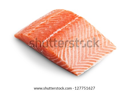 Sliced raw fatty salmon isolated on white background - stock photo