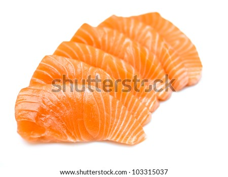 Sliced raw fatty salmon (Salmon sashimi) isolated on white background - stock photo
