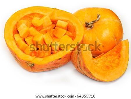 Sliced raw orange Pumpkin, isolated on white background - stock photo