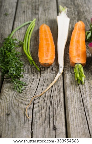sliced raw vegetables: carrot, turnip, and parsley on old wooden table background - stock photo