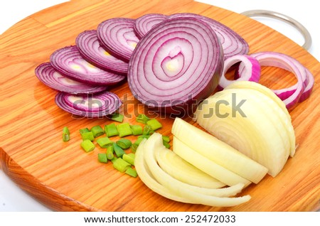 Sliced red and green onion on the cutting board isolated on white - stock photo