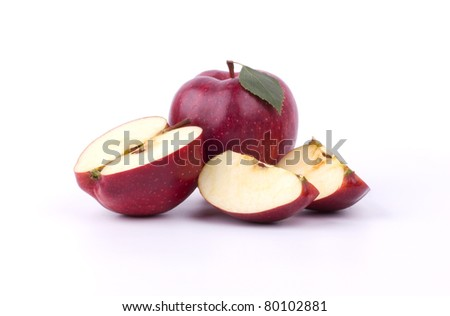 Sliced red apple on white - stock photo