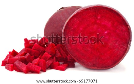 sliced red beets isolated on white background - stock photo