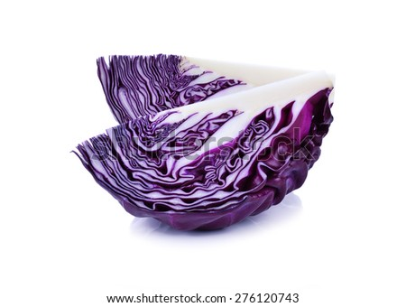 sliced red cabbage isolated on white - stock photo