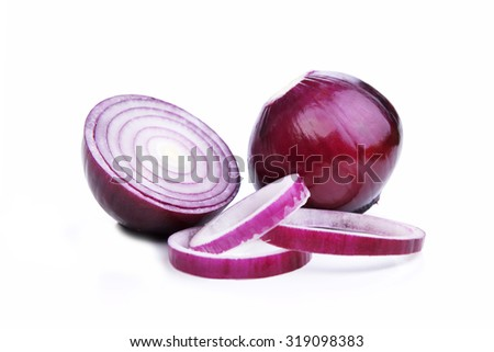 sliced red onions on  white background - stock photo
