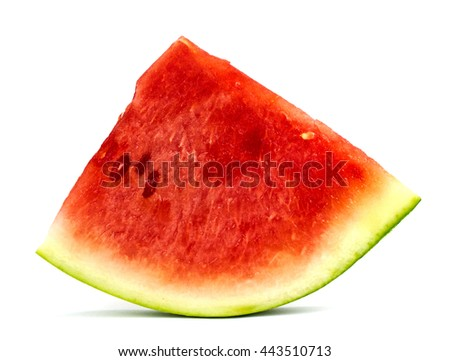 Sliced ripe watermelon isolated on white background - stock photo