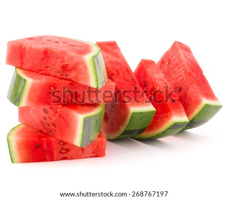 Sliced ripe watermelon isolated on white background cutout - stock photo