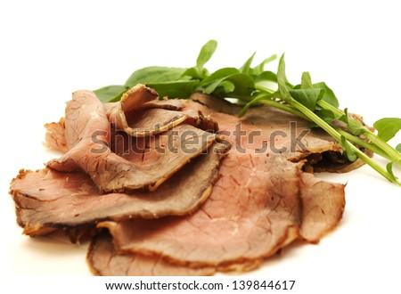 Sliced roast beef - stock photo