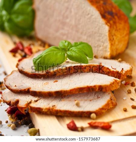 Sliced Roast Pork Loin - stock photo