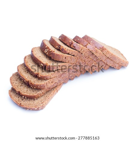 sliced rye bread on white background - stock photo