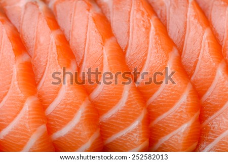 sliced salmon - stock photo