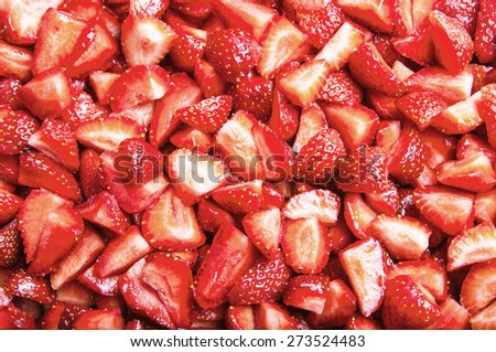 Sliced strawberries background - stock photo