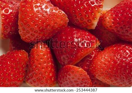 sliced strawberries close up, fresh strawberries - stock photo