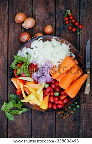 Sliced summer vegetables prepared for salad, food is a top view - stock photo
