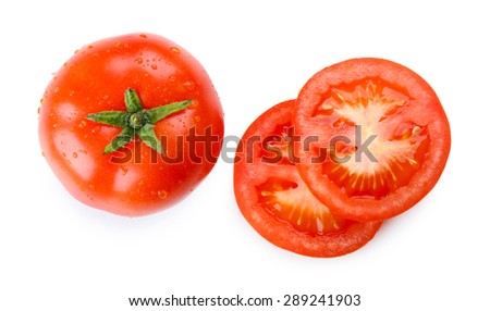 Sliced tomato isolated on white - stock photo