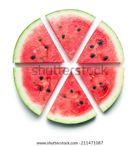 sliced watermelon on white background - stock photo