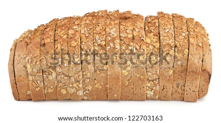 Sliced wheat bread isolated on white background - stock photo