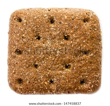 Sliced wholemeal rye bread isolated on a white background, macro - stock photo