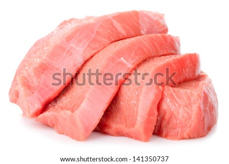 slices beef isolated on white background - stock photo