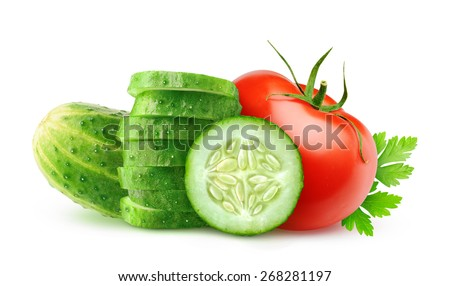 Slices cucumber and tomato isolated on white background, with clipping path - stock photo
