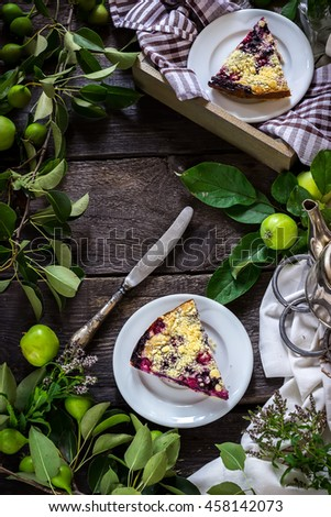 Slices of blueberry pie and apple bunches on dark wooden background. Style rustic. Selective focus. - stock photo