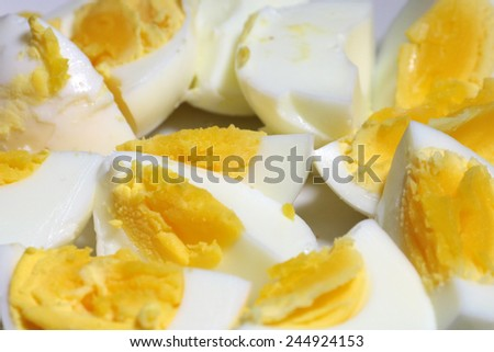 slices of boiled egg as an element of food - stock photo
