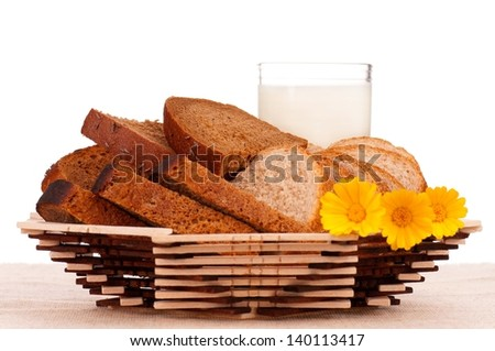 Slices of bread for sandwich on a decorative dish with glass of milk over white background - stock photo