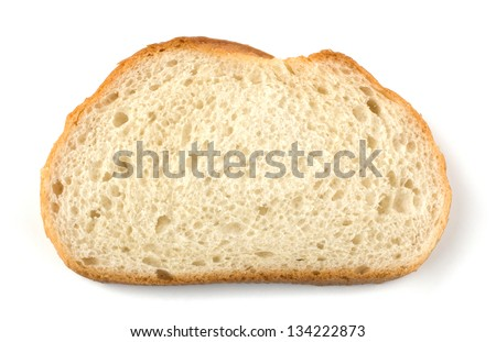 Slices of bread isolated on white background - stock photo