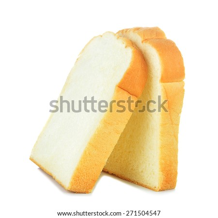 Slices of bread isolated on white background. - stock photo