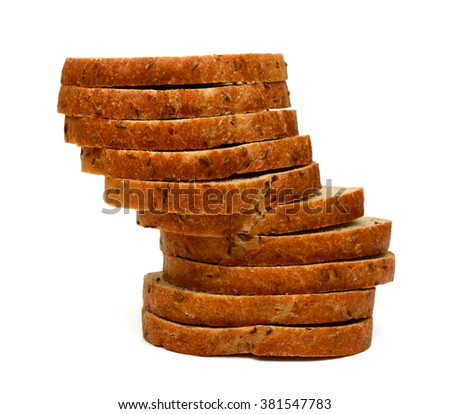 slices of brown bread isolated on white  - stock photo