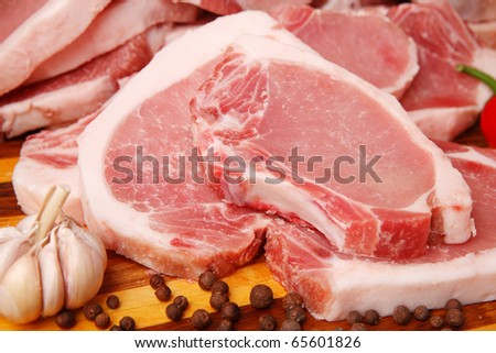 slices of fresh pork - stock photo