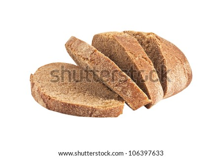 Slices of fresh rye bread isolated on white - stock photo