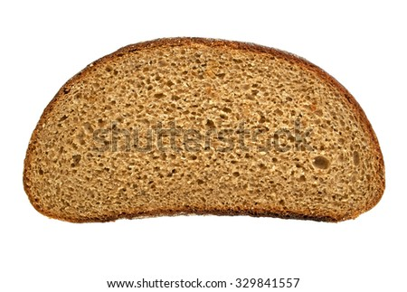 Slices of fresh rye bread isolated on white background - stock photo