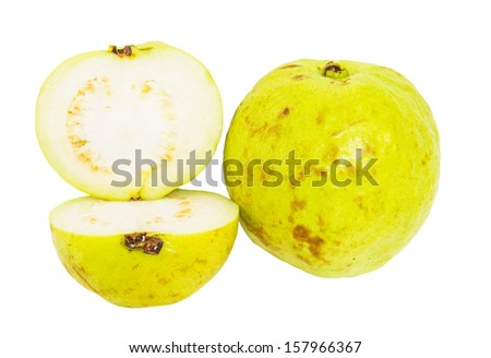 Slices of guava fruit over white background - stock photo