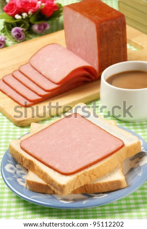 Slices of ham on the plate - stock photo