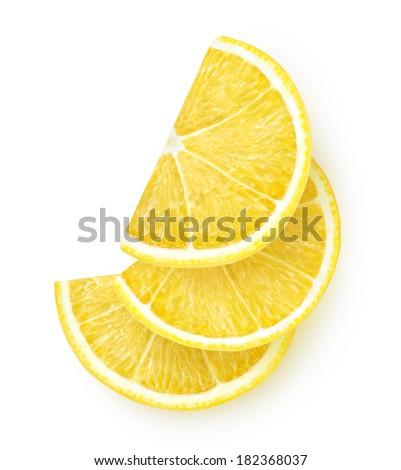 Slices of lemon isolated on white - stock photo